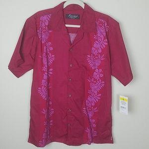 🍄red floral mens Hawaiian shirt Large